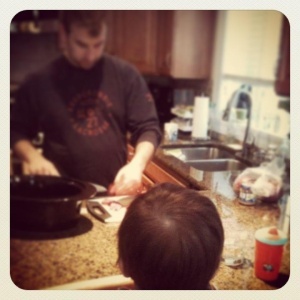 Welcome to the Eats For All Ages Kitchen! Everything you find on this blog has been prepared right here and approved by the little guy in the foreground.