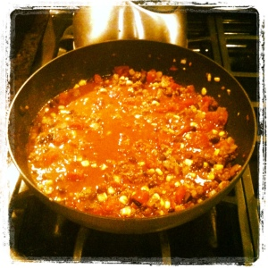 """Quick Chili"" reducing in the pan"